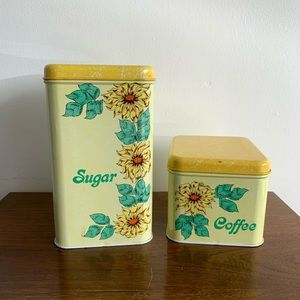 Vintage | Chicago Yellow Flower Sugar Coffee Tin